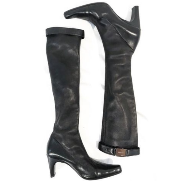 33c19938d2 CHANEL Runway Black Leather Knee High Sock Boots